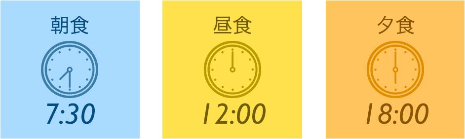 朝食7:30 昼食午後0時 夕食午後6時